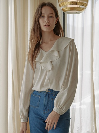 [10/14순차출고]Juliet Ruffle Blouse_Dot Ivory