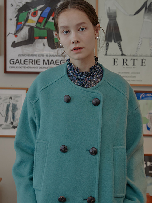 Merry Double-breasted Wool Coat_Mint