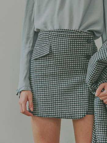 Bella Checked Wool Mini Skirt_Gingham Check