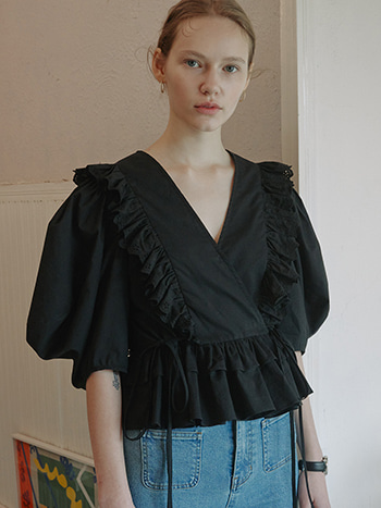 Rocha Lace Ruffled Blouse_Black