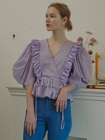 [04/06 예약배송]Rocha Lace Ruffled Blouse_Purple