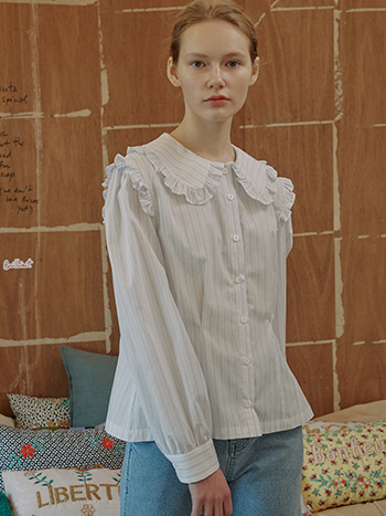 Joie Ruffle-trimmed Blouse_Striped