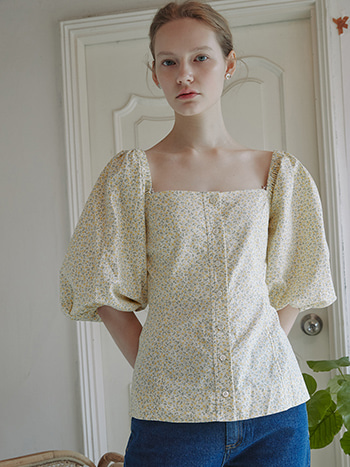 Marie Puff Square Blouse_Flower Yellow