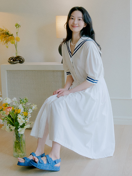 [5차 5/31 순차배송]Sailor Marine Dress_White