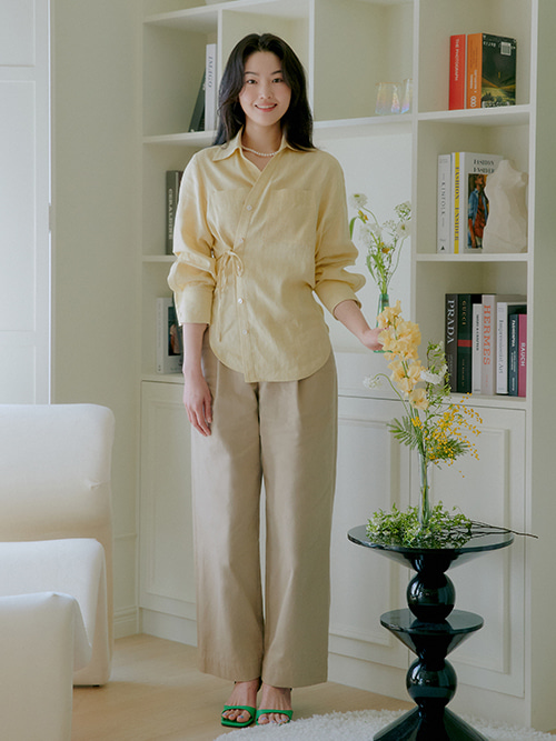 Relaxed Pintuck Wide Pants_Beige