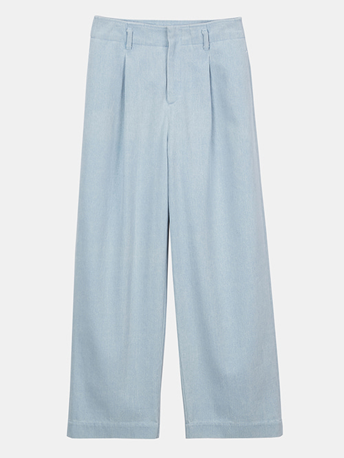 Relaxed Pintuck Wide Pants_Denim