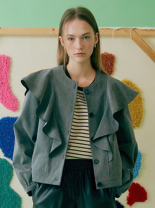 Florence Ruffle Cotton Jacket_2color