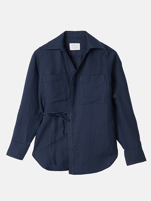 Carrie Unbalance Blouse_Navy