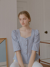 Alice Heart Neck Blouse_Gigham Check Blue
